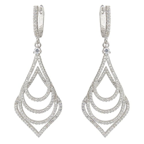 EVER FAITH Silver-Tone Zircon Wedding 4 Layers Tear Drop