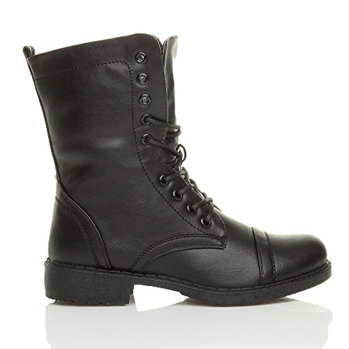 Black low lace military zip Womens ladies size Ajvani ankle boots up combat army heel flat nxwpq6