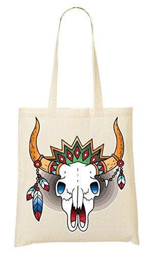 Animal skull Feather Horns Old school tattoo collection Vintage colors Bolso De Mano Bolsa De La Compra