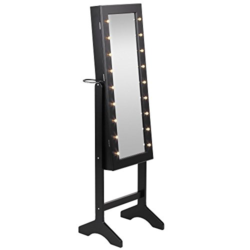 Beautify Mirrored Jewelry Armoire with LED Lights Floor Standing