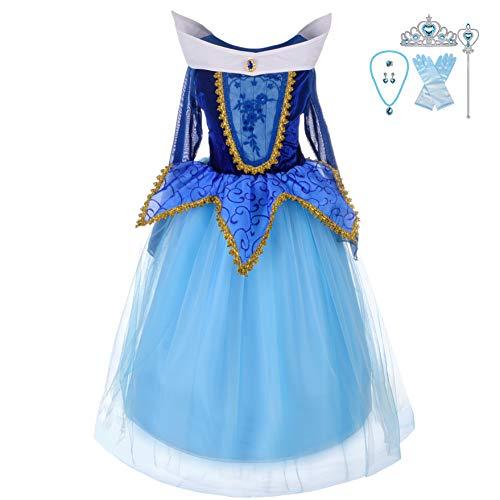 Lito Angels Girls' Sleeping Beauty Princess Aurora Dress Up Costume Halloween Fancy Dress with Accessories Size 3T / 4T -