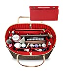 LEXSION Felt Fabric Purse Handbag Organizer Bag - MultiPocket Insert Bag 8008 Red M