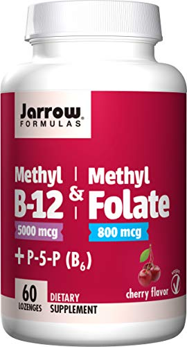 - Jarrow Formulas Methyl B-12 & Methylfolate + P5P (B6), Supports Brain Cells and Nerve Tissues, Cherry Lozenges 60 Count