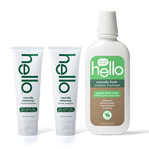 (Hello Oral Care Naturally whitening fluoride toothpaste twin pack + naturally fresh antispetic mouthwash)