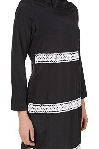 MyBatua islamique simple casual & formal wear noir maxi abaya robe AY-327