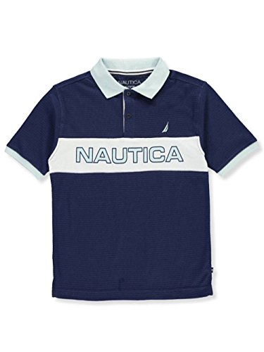 Nautica Boys' Short Sleeve Colorblock Deck Shirt,Retro Blue,Medium (5/6) Bold Stripe Cotton Shirt