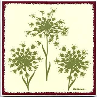 product image for TILES, WALL PLAQUES AND TRIVETS, HAND PAINTED WITH BOTANICAL THEMES - QUEEN ANNES LACE #BB-4