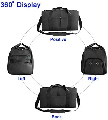 """41L Sports Gym Bag with Shoes Compartment and Wet Pocket, 21"""" Travel Duffle Bag for Men and Women"""
