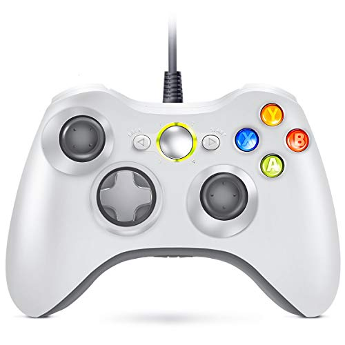 VOYEE Wired Controller Compatible with Microsoft Xbox 360 & Slim/PC Windows 10/8/7 (White) | Upgraded