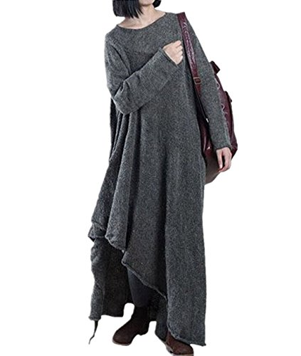YESNO JT9 Women Loose Maxi Woolen Knit Sweater Dress Pullover Asymmetric Hem Long Sleeve