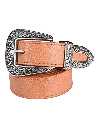 (Western Belts for Women, Vintage Design Leather Belt with Western-style Buckle, Black Waist Belt for Pants Jeans Dresses (Brown-Single buckle, 43Inch(Suit waist 33