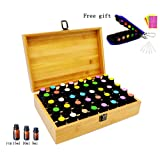 Aromatherapy Essential Oil Storage Bamboo Box Holds 40 Bottles 5-10-15ML, Fit for Young Living, Pure Body Naturals, doTERRA and others, with Key Chain Case, Sample Bottles, Cap labels