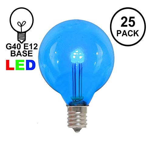(Novelty Lights 25 Pack G40 LED Outdoor String Light Patio Globe Replacement Bulbs, Blue, 3 LED's Per Bulb, Energy Efficient)