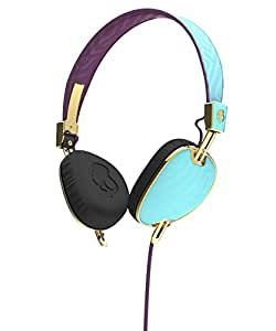 Skullcandy S5AVGM-396 Knockout Women's On-Ear Headphones with Mic & Remote, Robin/Smoked Purple/Gold