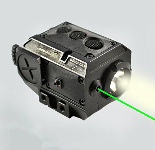 AT3 Tactical Green Laser Light Combo LL-02G with LED Strobe Flashlight and Rail Mount for Pistols Handguns Rifles Shotguns
