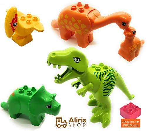 Duplo Dinosaurs - Aliris Jurassic World - 5 Dinosaurs Figures - Dino Zoo Park T-Rex Set for Toddler - Duplo Compatible