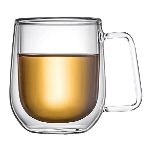 Price comparison product image LauderHome Double Walled Insulated Glass Coffee Mugs or Tea Cups ,  Double Wall Glass 11 oz - Clear,  Unique & Insulated with Handle