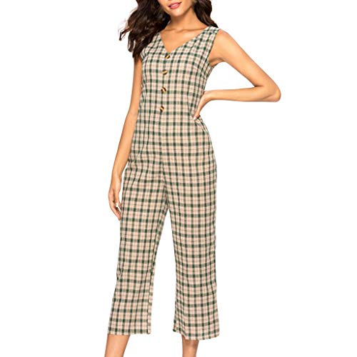 Womens Casual Lattice Sleeveless Single Breasted Long Jumpsuit V Neck Halter Wide Leg Rompers Trousers Green