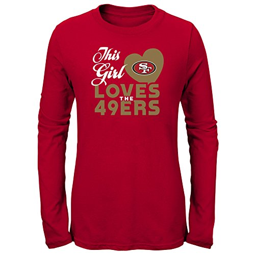 Sugar Francisco San 49ers - Outerstuff NFL NFL San Francisco 49ers Youth Girls This Girl Loves Long Sleeve Fashion Fit Tee Red, Youth Large(14)