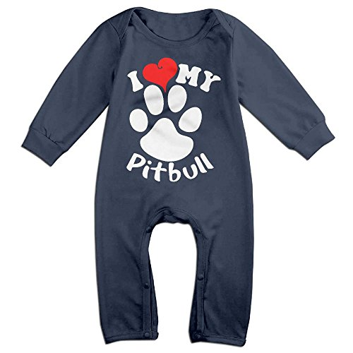 Mrei-leo Baby Girl Long Sleeved Coveralls I Love My Pitbull Staffy Terrier Dog Infant Long Sleeve Romper Jumpsuit