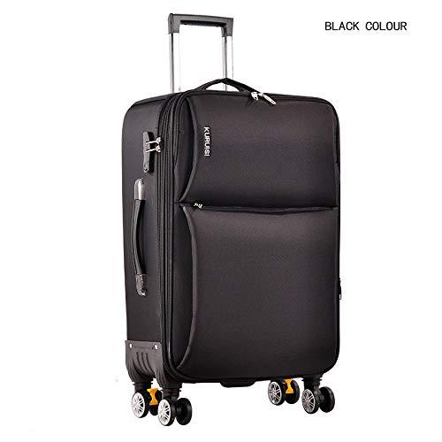 オックスフォード布スーツケース荷物ユニバーサルホイール女性20インチ22インチ24インチ男性パスワード搭乗ソフト牽引ボックス B07PSH88D3 ブラック 24