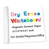 YINGSHENG Magnetic Dry Erase Whiteboard Paper with 1 Chalk Pen, 17.71' by 39.37' Chalkboard Contact Paper Self-Adhesive Waterproof Children Kids