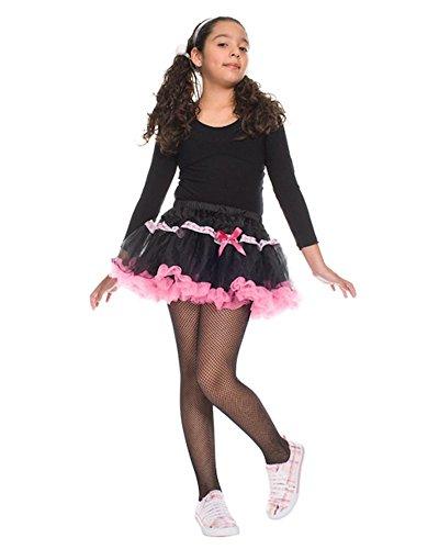 MUSIC LEGS Girls Fishnet Pantyhose, Black, Large -