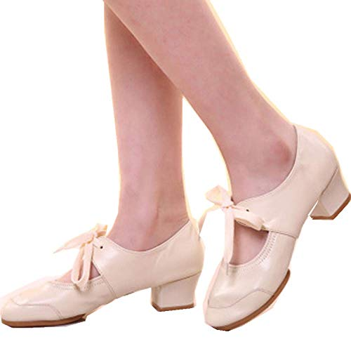 Women Ballroom Dancing Shoes Salsa Sandals Latin Dance Practice Shoe Ladies Dancing Rumba Waltz Prom Shoe Memela (Beige, 7 M ()