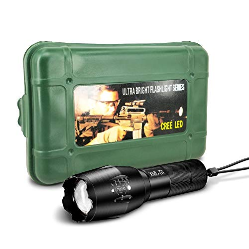 Recoo Flashlight Kit XML T6 High Lumen with Zoomable Adjustable Focus and 5 Light Modes, Outdoor Water Resistant Torch, Powered Tactical Handheld Flashlight