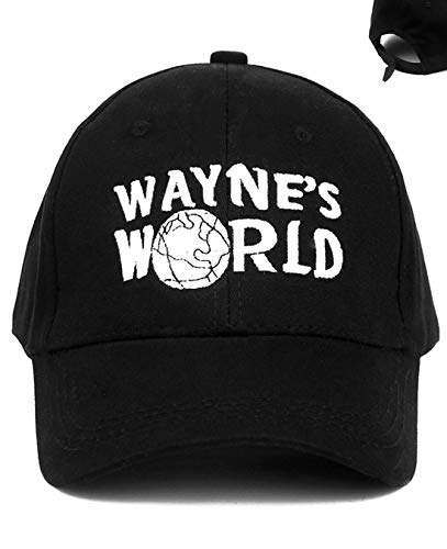 Fudirect Store Wayne's World Hat, Trucker Embroidered Costume Baseball Hat Cap Adjustable Black for Women, Men, Child & Youth (Cotton)