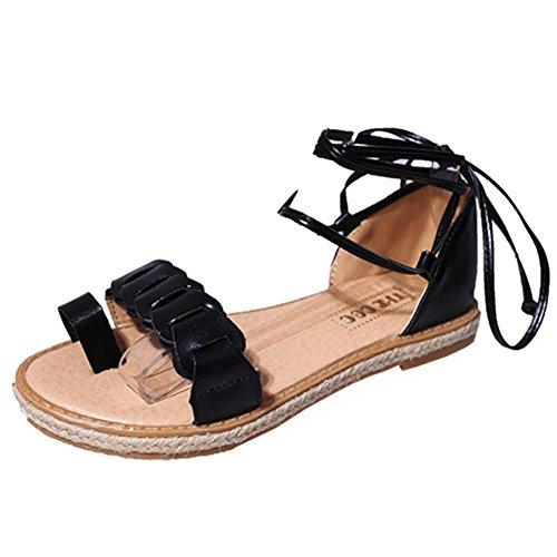 FEITONG Sandalias Mujer Nuevo Caliente Moda Sandalias de verano Oficina Tacón bajo Casual Lace-Up Zapatos Negro