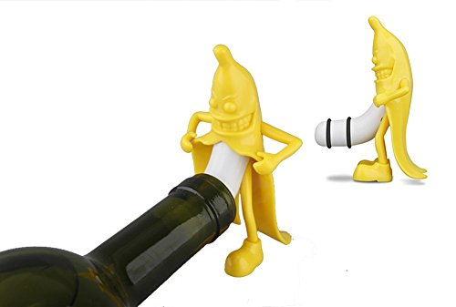 Seana Mr. Banana Wine Bottle Stopper a Gag Gift for Wine Novelty funny (Yellow) (What To Put In Wine Baskets)