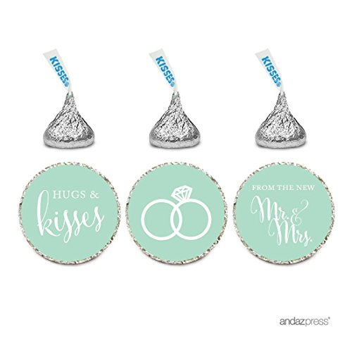 Andaz Press Chocolate Drop Labels Stickers, Wedding Hugs & Kisses from The New Mr. & Mrs, Mint Green, 216-Pack, for Bridal Shower Engagement Hershey's Kisses Party Favors - Mint Wedding