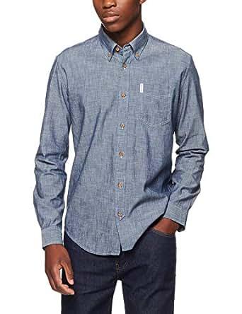 Ben Sherman Men's Long Sleeve Chambray Shirt, Blue (Navy), Medium