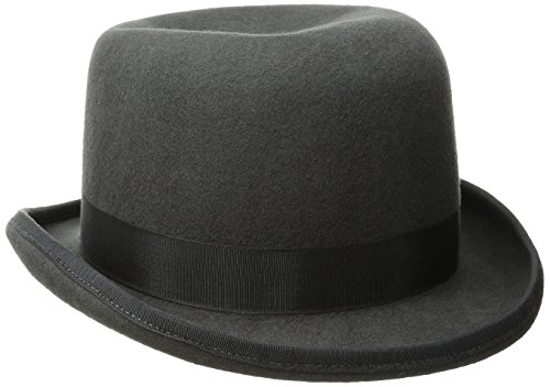 Scala Men's Wool Felt Derby Hat, Charcoal, (Dorfman Pacific Winter Beanie)