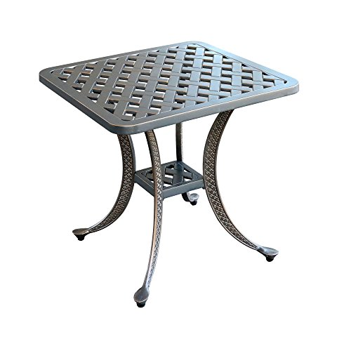 iPatio Sparta Standard Square Cast Aluminum Side Table, Outdoor End Table (Gun Metal) ()