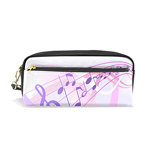 Jnseff Pencil Case Stylish Print Music Notes Abstract Clef Art Pattern Large Capacity Pen Bag Makeup Pouch Durable Students Stationery Two Pockets with Double Zipper