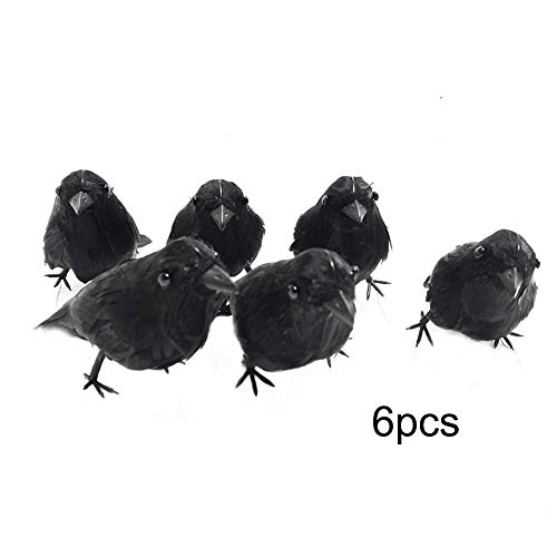T-REASURE Halloween Black Feathered Small Crows Birds,6 PCS Realistic Lifelike Handmade DIY Crafts Props for Home Indoor Halloween Party Decor -