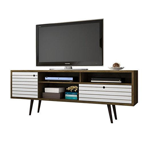 Manhattan Comfort Liberty Collection Mid Century Modern TV Stand With Three Shelves, One Cabinet and One Drawer With Splayed Legs, Wood/White ()
