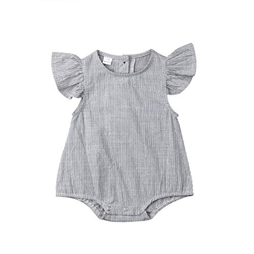 Infants Playsuit Striped - Lamuusaa Newborn Baby Boys Girls Fly Sleeve Romper Ruffled Striped Bodysuit Button Jumpsuit Playsuit Summer Outfit 0-18M (6-12M, Grey)