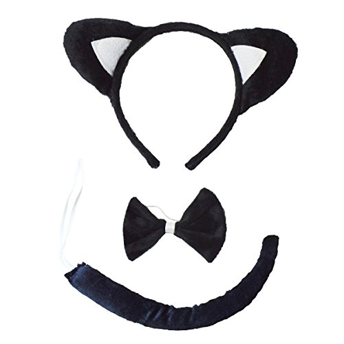Cute Black Cat Halloween Costumes - Kids Costumes for Halloween Party Animal Cute Dog Cat Halloween Costumes for Kids (Black Cat -3Piece)