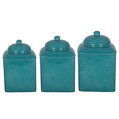 Floral Pattern HiEnd Accents Savannah Turquoise Canister 3-piece Set by Generic
