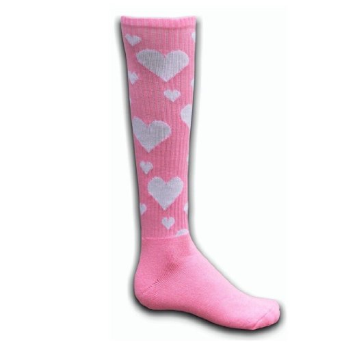 Red Lion Hearts Knee High Socks ( Pale Pink / White - Small ) (Pink Heart Socks White)