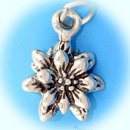 Edelweiss Flower Blooming 3D 925 Solid Sterling Silver Charm Pendant Vintage Crafting Pendant Jewelry Making Supplies - DIY for Necklace Bracelet Accessories by CharmingSS