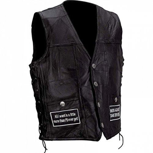 (Diamond Plate Rock Design Genuine Buffalo Leather Concealed Carry Vest with Patches)