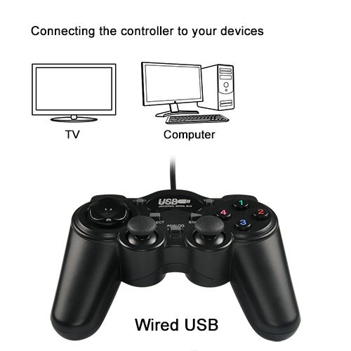Game Controller,USB Wired Joypad with Dual Shock Joystick Gamepad for PC/Computer/Laptop(RECCAZR GP003 Black) by RECCAZR (Image #2)