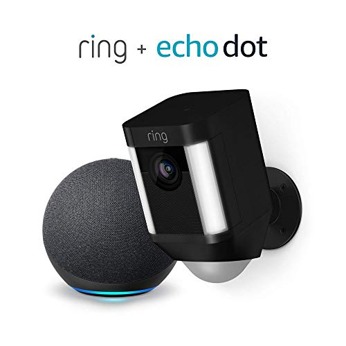 Ring Spotlight Cam Battery Cámara de seguridad HD (negro) y Echo Dot (4.a generación)