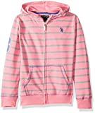 U.S. Polo Assn. Toddler Girls' Long Sleeve French Terry Hoodie White Stripes Pink, 3T