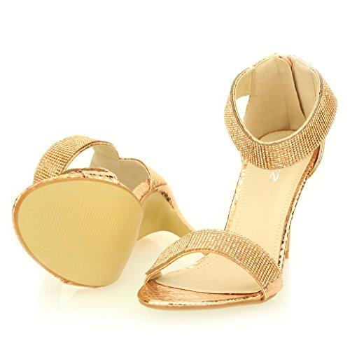 Mujer Señoras noche Boda Party tacón alto Open Toe Diamante Nupcial Sandalia Zapatos Tamaño (Oro, Negro, Champagne, plata) Champagne