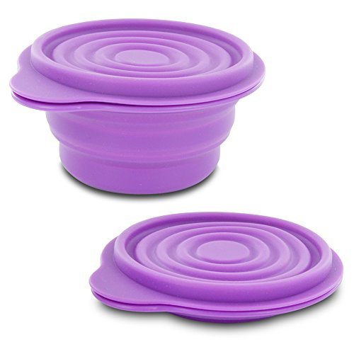 Price comparison product image The Best BPA-Free 1.5 Cup Collapsible Silicone Container with Lid, Purple-12649-150-0020- - The Collapsible Silicone Container with Lid is perfect for taking snacks on the go, using in lunch boxes, or storing your leftovers. Made from food-grade silicone, it can be used with both foods and beverages. The lid helps to keep the contents secure in the bowl, and when you're all down eating, the bowl conveniently collapses into a flat ring for easy storage. The bowl is both micro